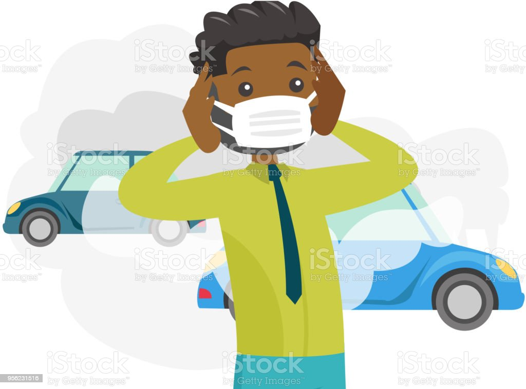 Man wearing mask because of toxic air pollution vector art illustration