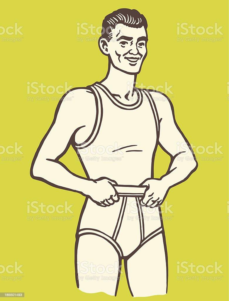 Man Wearing Underwear royalty-free stock vector art