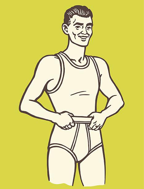 illustrations, cliparts, dessins animés et icônes de homme porter des sous-vêtements - homme slip
