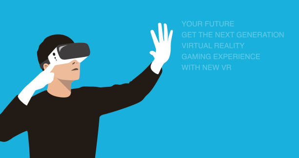 man wearing virtual reality glasses. hands holding, playing games - old man computer silhouette stock illustrations, clip art, cartoons, & icons