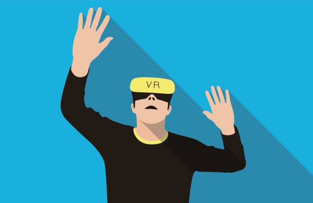 man wearing virtual reality glasses. hands up, playing games - old man computer silhouette stock illustrations, clip art, cartoons, & icons