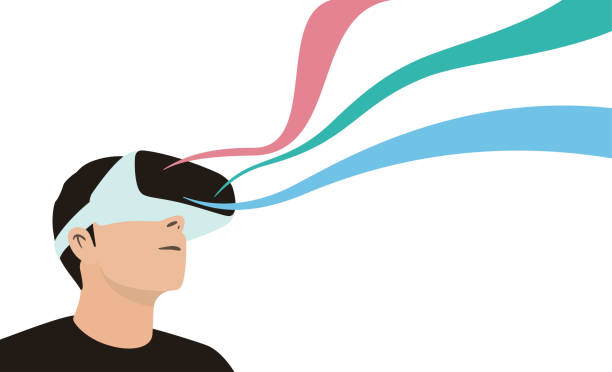 man wearing virtual reality glasses. look at the virtual sky, the image floats like a ribbon - old man glasses silhouettes stock illustrations, clip art, cartoons, & icons