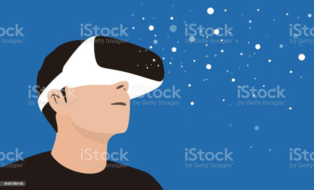 Mann mit Virtual-Reality-Brille. Schauen Sie sich den virtuellen Himmel – Vektorgrafik