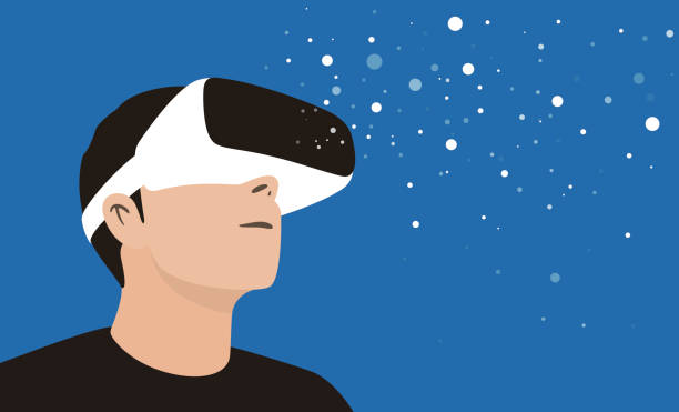 man wearing virtual reality glasses. look at the virtual sky - old man glasses silhouettes stock illustrations, clip art, cartoons, & icons
