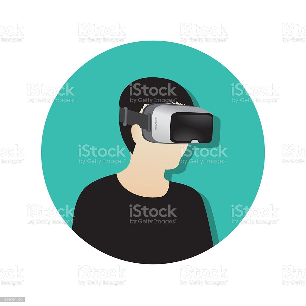 Man wearing virtual reality (or VR) glasses - vector icon royalty-free man wearing virtual reality glasses vector icon stock vector art & more images of arts culture and entertainment