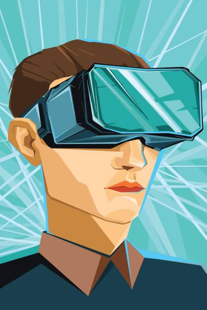 illustrazioni stock, clip art, cartoni animati e icone di tendenza di man wearing virtual reality goggles or vr headset - ritratto 360 gradi