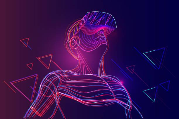 mężczyzna noszący zestaw słuchawkowy wirtualnej rzeczywistości. abstrakcyjny świat vr z neonowymi liniami - futurystyczny stock illustrations
