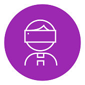 Man wearing virtual reality headset thick line icon with pointed corners and edges for web, mobile and infographics. Vector isolated icon.