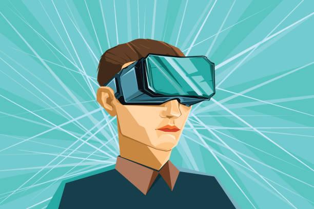illustrazioni stock, clip art, cartoni animati e icone di tendenza di man wearing virtual reality vr headset - ritratto 360 gradi