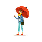 Man wearing warm clothes with coffee cup standing under red umbrella flat vector illustration isolated on a white background