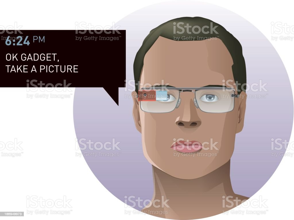Man wears a futuristic smart glasses royalty-free man wears a futuristic smart glasses stock vector art & more images of activity