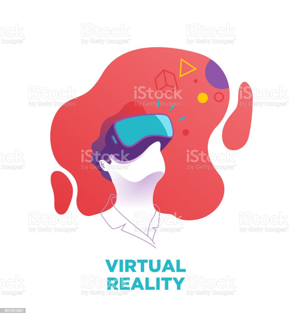 Man wears a VR, virtual reality goggles, glasses. Vector illustration, blue, purple glasses, red background.Digital, VR glasses, 360 degree-view, cyber, 3D, Virtual reality digital device, VR goggles vector art illustration