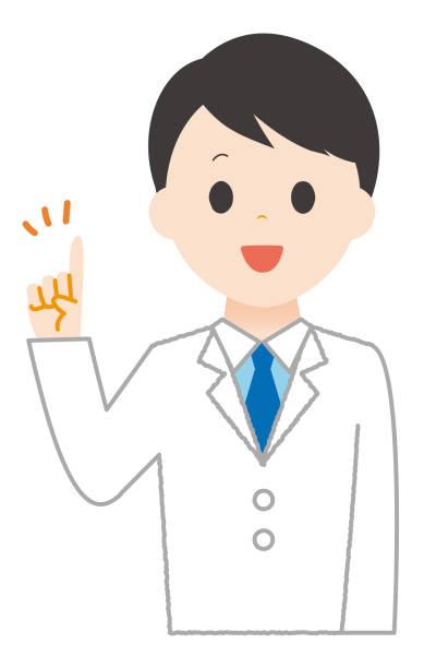 Man wears white explaining the points. Man wears white explaining the points. 病院 stock illustrations