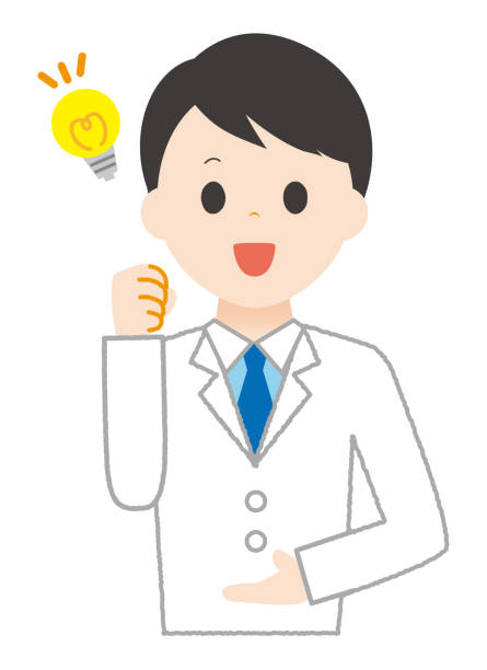 Man wears white happy to discover. Man wears white happy to discover. 病院 stock illustrations