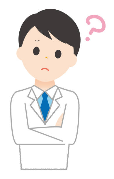 Man wears white have a question. Man wears white have a question. 病院 stock illustrations