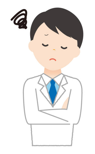 Man wears white have trouble. Man wears white have trouble. 病院 stock illustrations