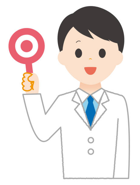Man wears white  holding correct sign. Man wears white  holding correct sign. 病院 stock illustrations