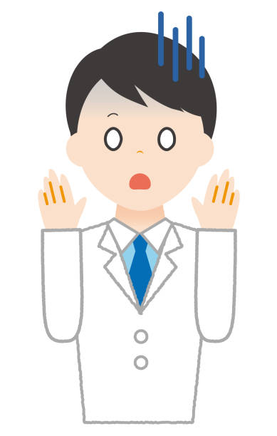 Man wears white is shocked. Man wears white is shocked. 病院 stock illustrations