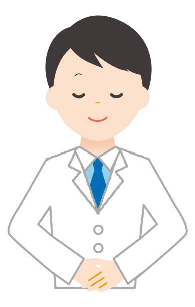 Man wears white to bow. Man wears white to bow. 病院 stock illustrations