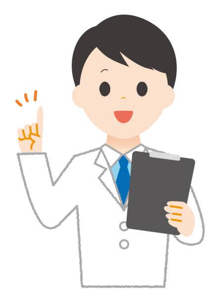 Man wears white to explain something. Man wears white to explain something. 病院 stock illustrations