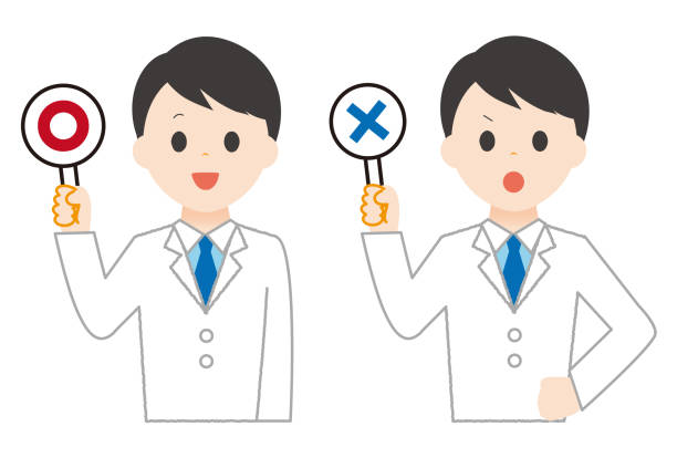 Man wears white wrong sign and correct sign. Man wears white wrong sign and correct sign. 病院 stock illustrations