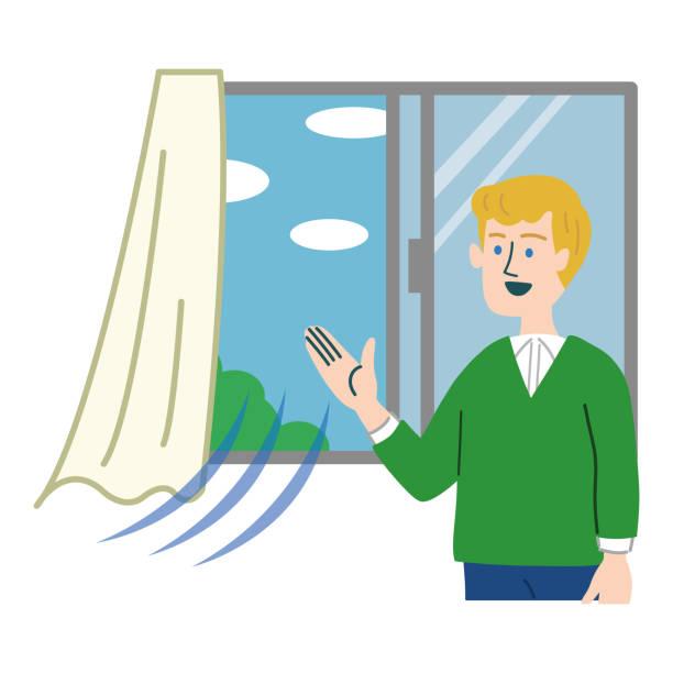 mann westliche lüftung illustration fenster geöffnet - lüften stock-grafiken, -clipart, -cartoons und -symbole