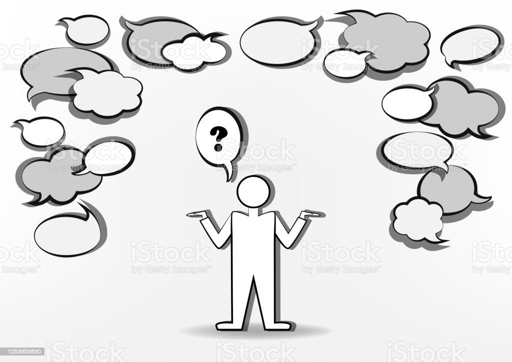 Man Who Ask And Many Blank Speech Bubbles Black And White Horizontal ... d876957785e