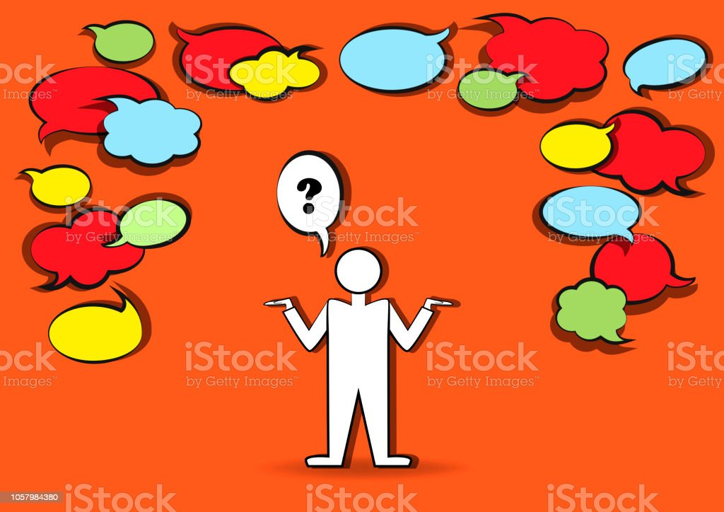 Man Who Ask And Many Blank Speech Bubbles Horizontal Vector ... 167f190199f
