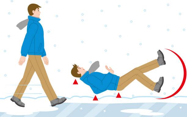 stockillustraties, clipart, cartoons en iconen met een man die valt op een bevroren weg - stoep