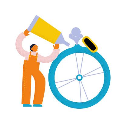 Man who fixes bike