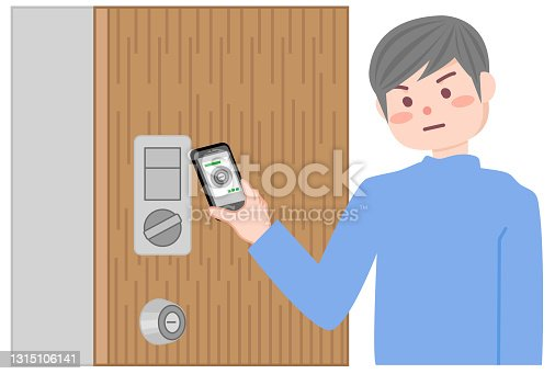 istock A man who locks the door with a smartphone. 1315106141
