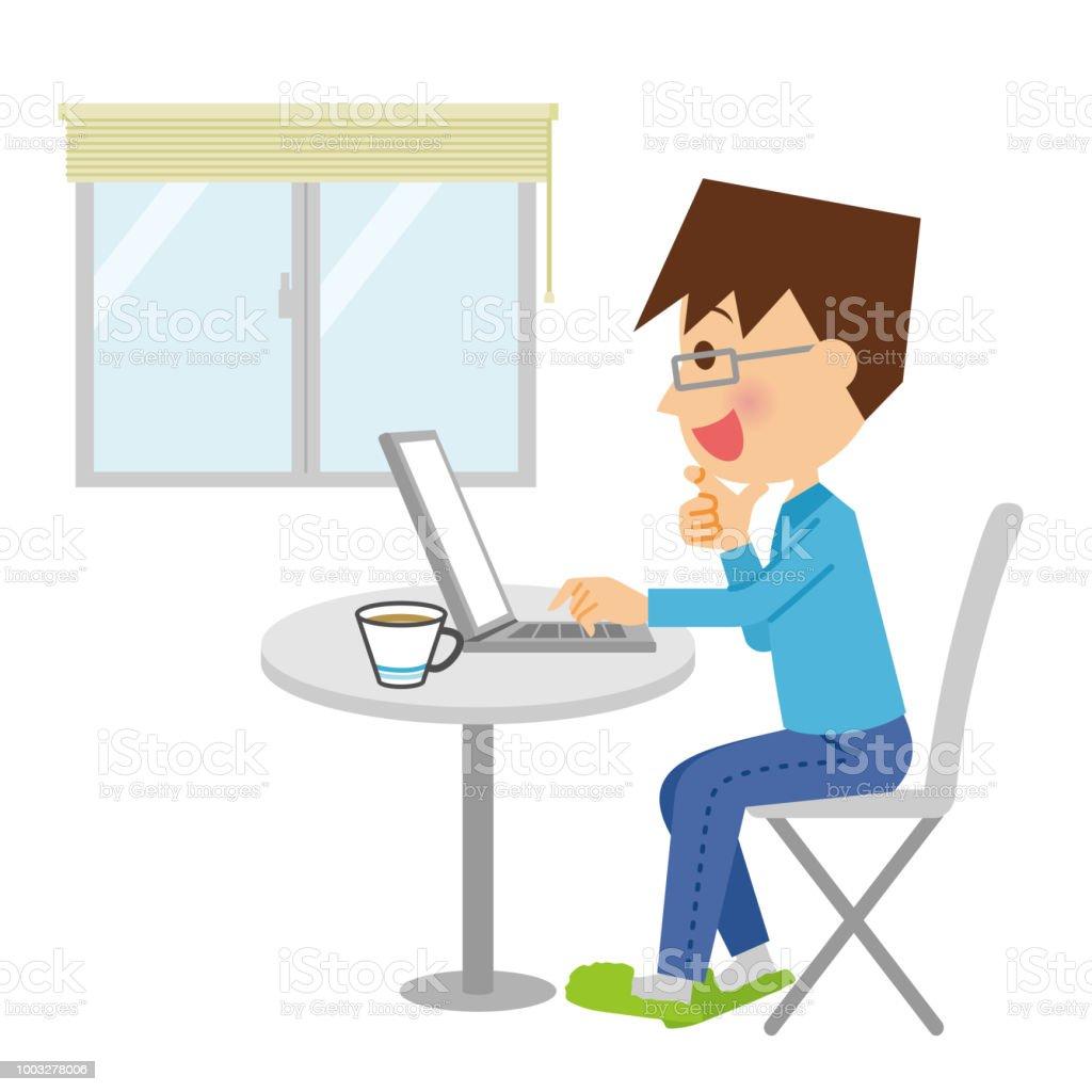 パソコンを操作する人。 ベクターアートイラスト