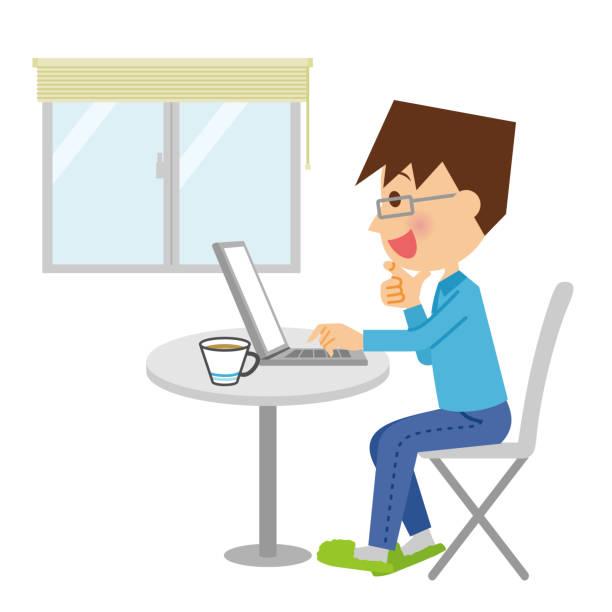 パソコンを操作する人。 - オフィス外勤務点のイラスト素材/クリップアート素材/マンガ素材/アイコン素材