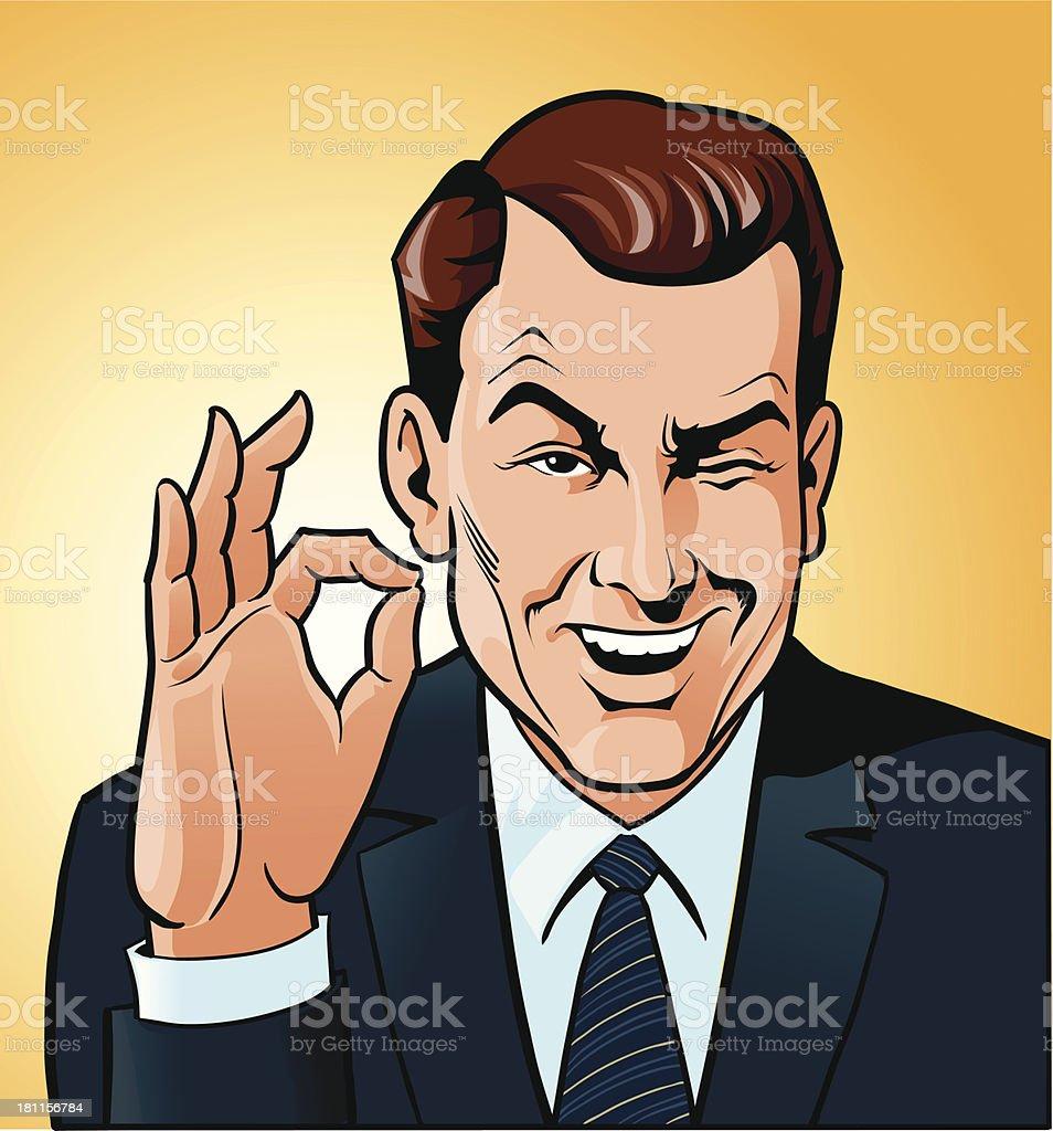 Man Winking With OK Gesture vector art illustration