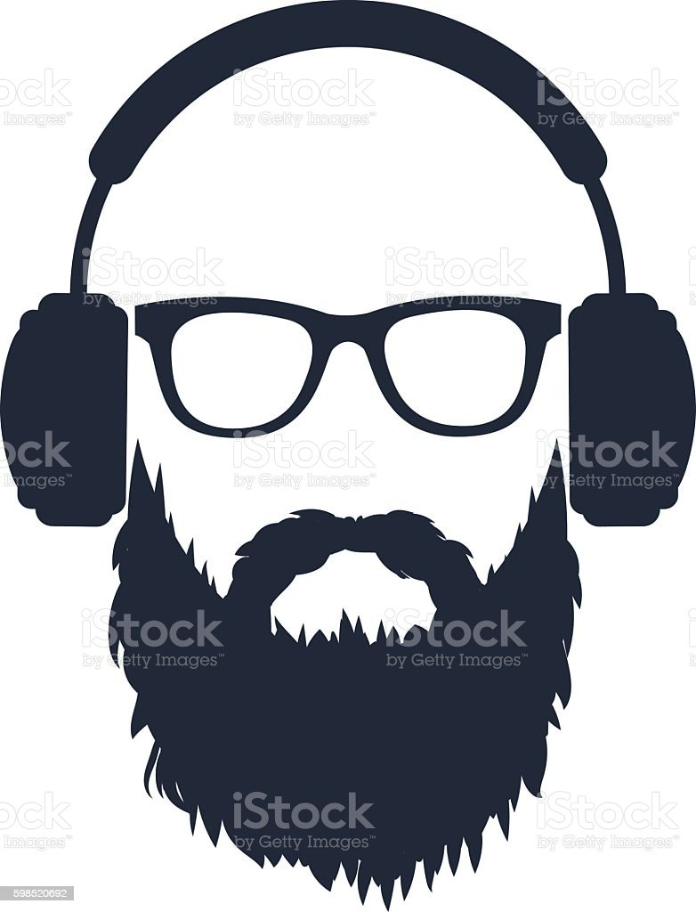 man with a beard wearing glasses and headphones vector art illustration