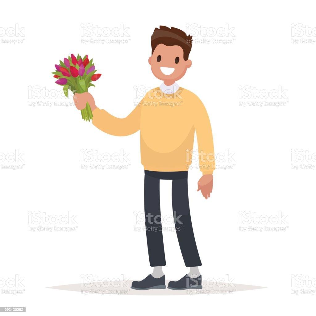 Bir Buket çiçek Beyaz Bir Arka Plan üzerinde Olan Adam Düz Bir Stil