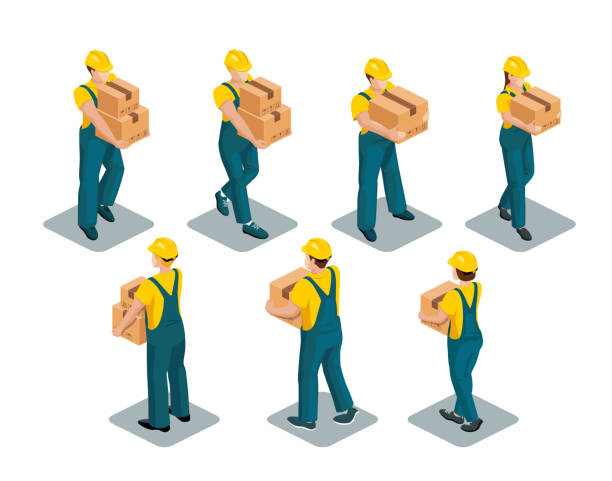 stockillustraties, clipart, cartoons en iconen met man met een isometrische verzamelbox - warehouse worker
