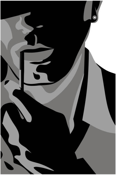Man with a cigarette vector art illustration