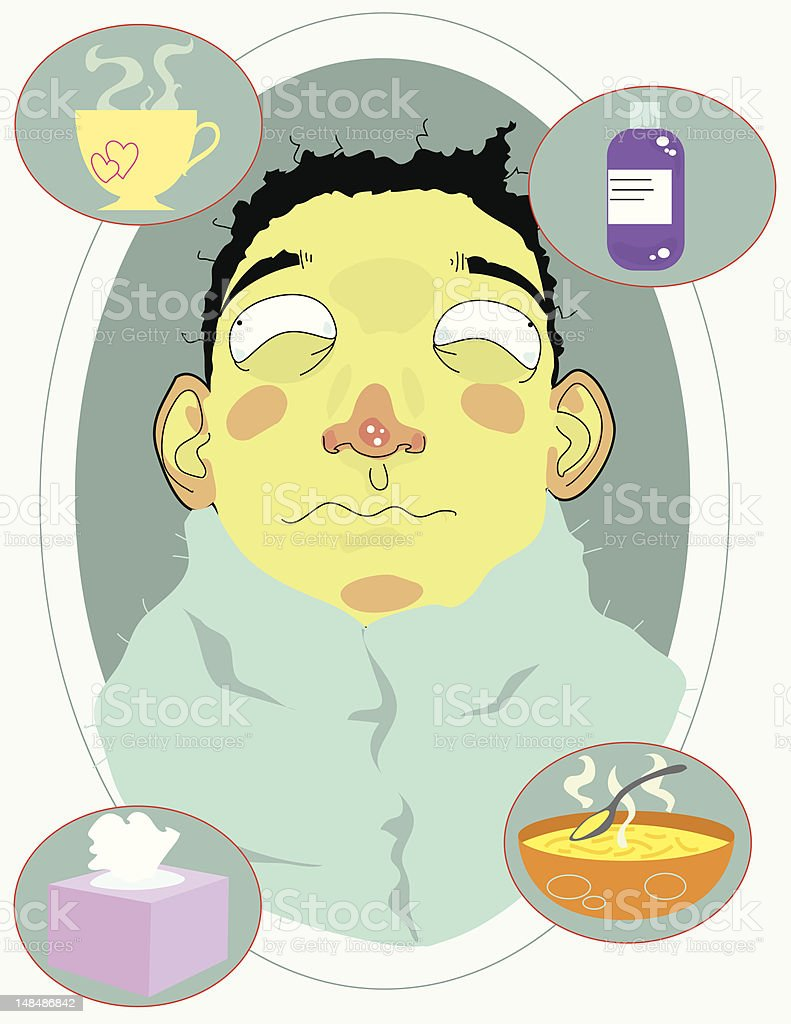 Man with a Cold royalty-free stock vector art