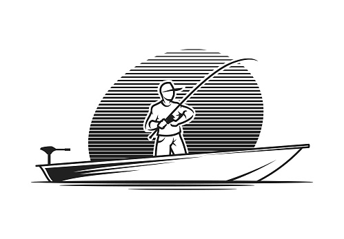 Man with a fishing rod in a boat