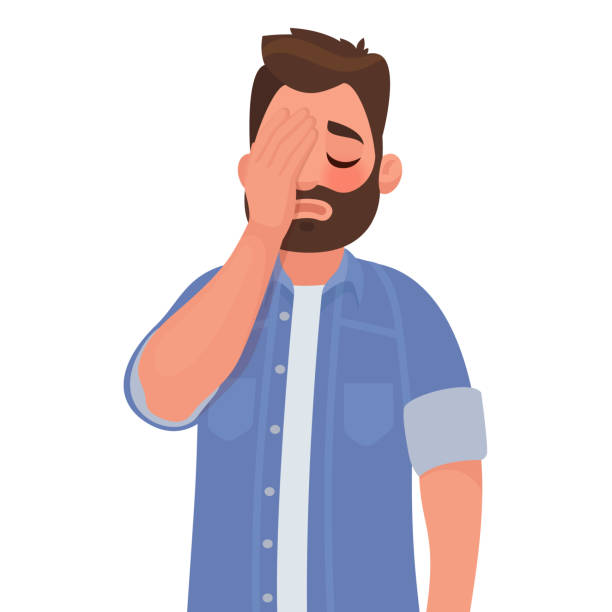 Man with a gestures facepalm. Headache, disappointment or shame Man with a gestures facepalm. Headache, disappointment or shame. Vector illustration in cartoon style headache stock illustrations