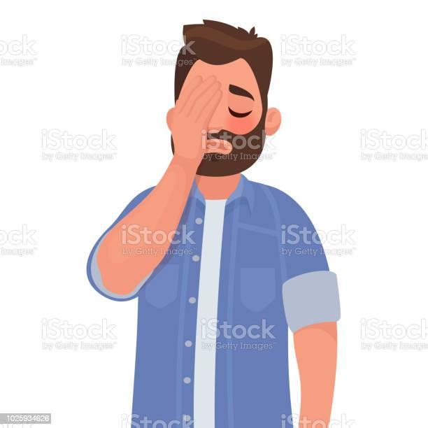 Mann Mit Einem Gesten Facepalm Kopfschmerzen Enttäuschung Oder Scham Stock Vektor Art und mehr Bilder von Bedauern
