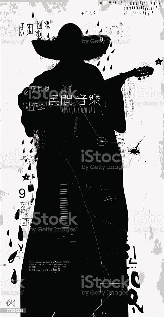 Man with a guitar vector art illustration