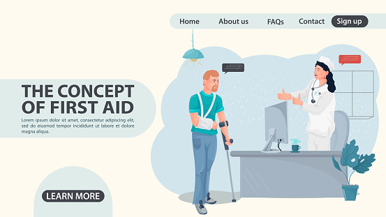 A man with a hand injury came to a doctors appointment a web page design concept flat illustration cartoon