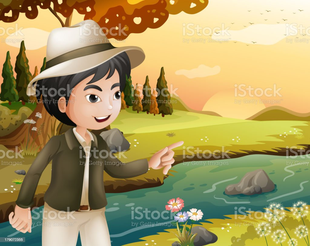 man with a hat at the riverbank royalty-free man with a hat at the riverbank stock vector art & more images of adult