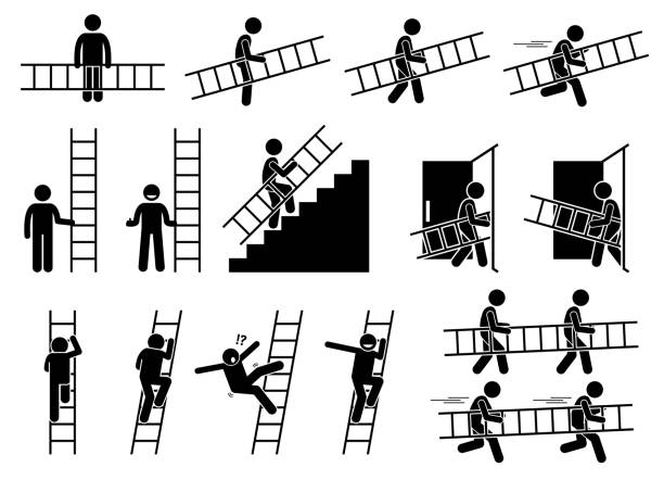 stockillustraties, clipart, cartoons en iconen met man met een ladder. - ladder