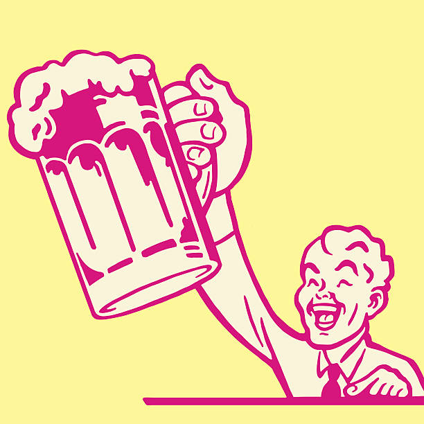 man with a mug of beer - bachelor party stock illustrations, clip art, cartoons, & icons