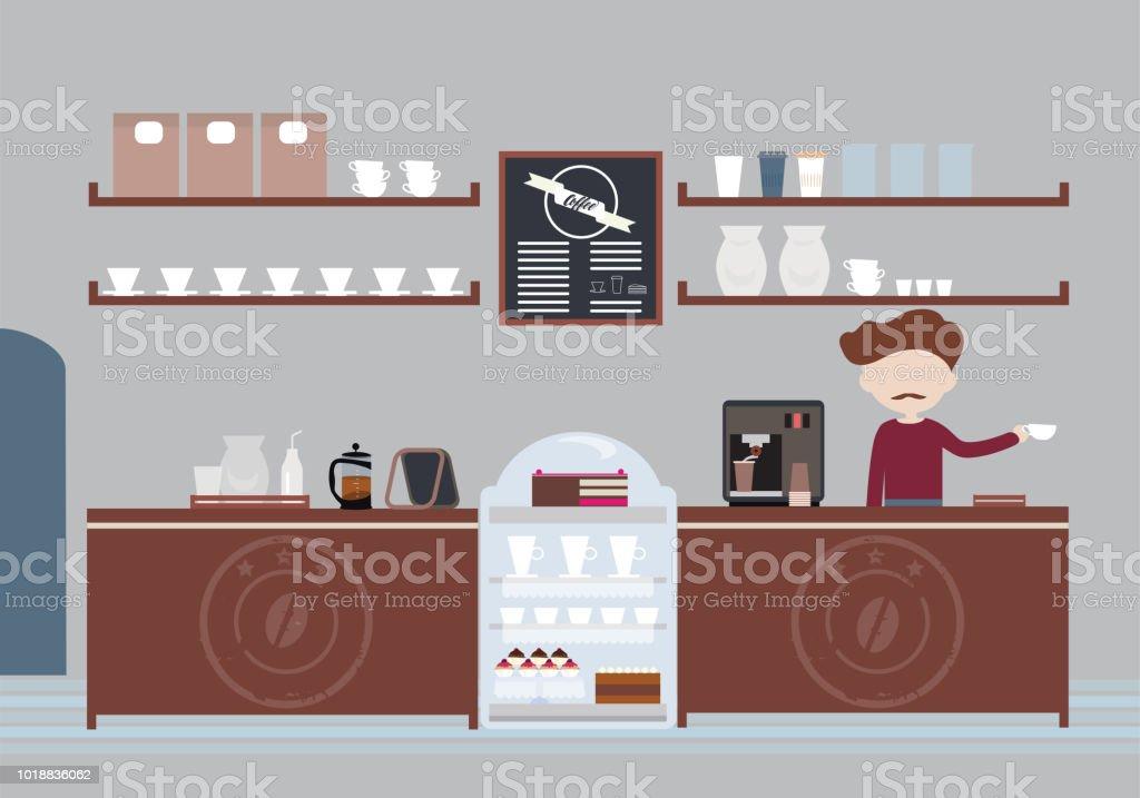 Hombre con un pie el bigote, dueño o camarero en cafetería detrás de barra y preparando café con vasos, pasteles y muffins - vector - ilustración de arte vectorial