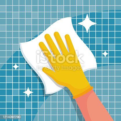 istock Man with a rag will wipe tiles in the bathroom. Housekeeping concept. 1214092290