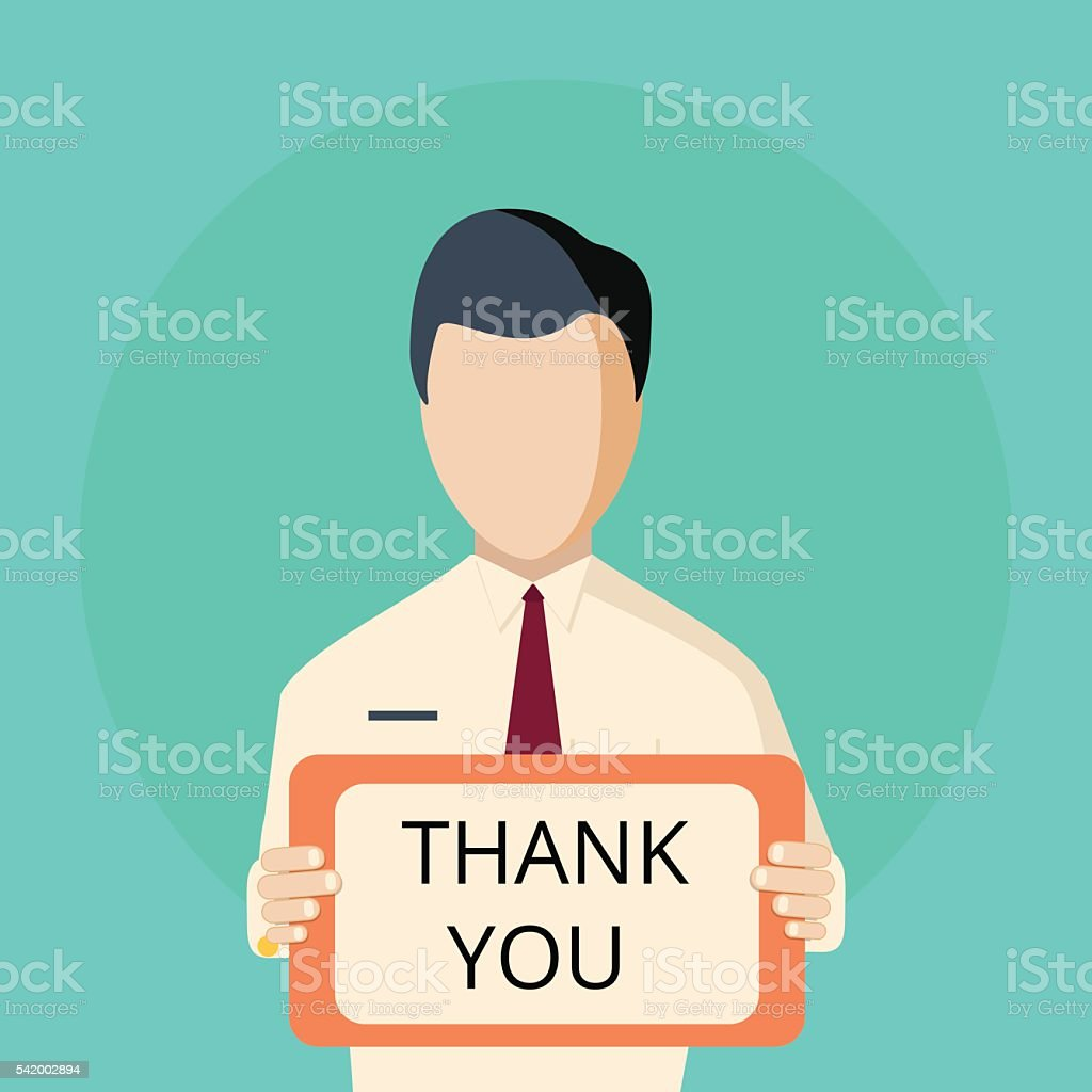 male hand holding thank you signboard clip art, vector images